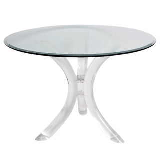 Thick Tube Lucite Table Base and Glass Top
