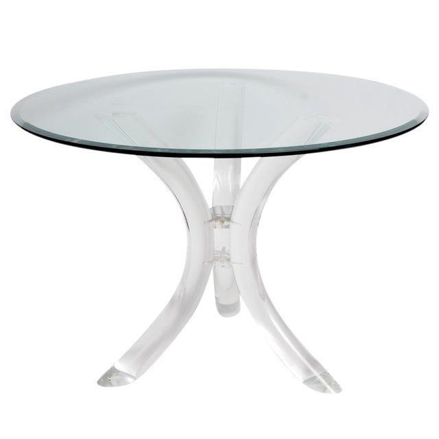 Image of Thick Tube Lucite Table Base and Glass Top