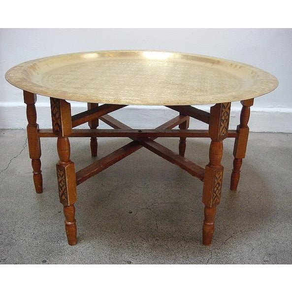 Moroccan Brass Tray Table With Folding Stand - Image 2 of 3