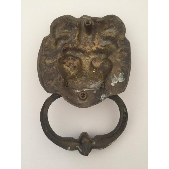 Brass imperial lion 39 s head door knocker chairish - Lions head door knocker brass ...