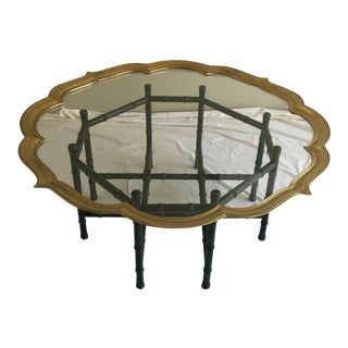 Vintage Green Tortoiseshell Faux Bamboo Brass Table
