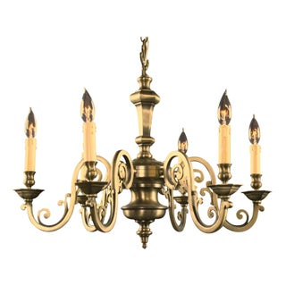Atypical Vintage Flemish Chandelier Worn Pewter