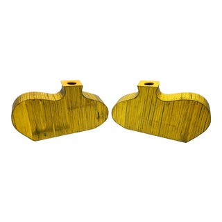 Abstract Modern Yellow Bamboo Vases - A Pair
