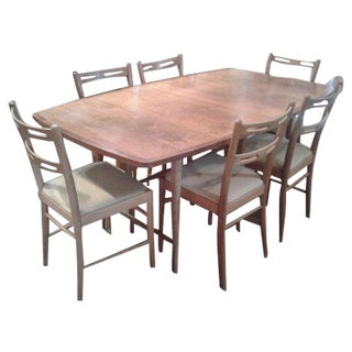 Mid-Century Modern Dining Table and Six Chairs
