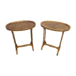 Baker Furniture Burl Side Tables - A Pair