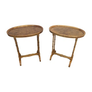 Baker Furniture Burl Side Tables - A Pair