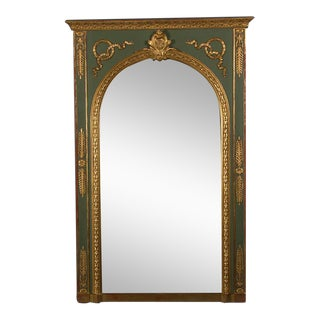 Antique French Neoclassical Painted and Gilt Mirror, circa 1895 (42″w x 64″h)