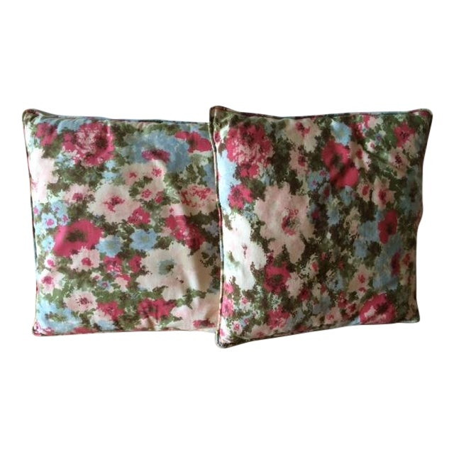 Vintage Floral Pillows - Pair - Image 1 of 3