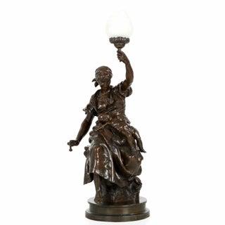 Antique Bronze Torchiere Sculpture by Emile Peynot