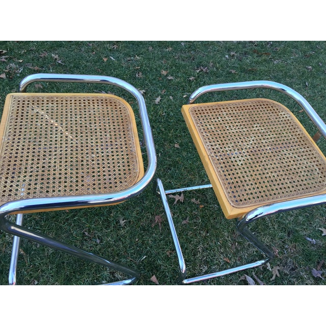 Image of Italian MCM Chrome Cane Counter Z Stools - A Pair