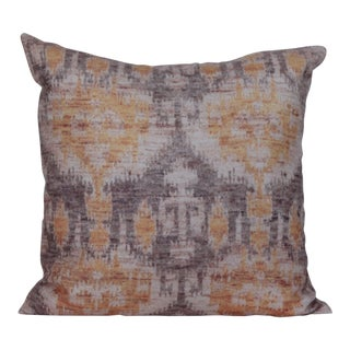 Large Ikat Yellow Print Pillow