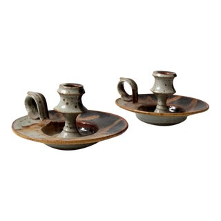mid-century ceramic candle holders