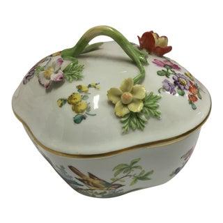 Bird & Floral Motif Porcelain Lidded Dish