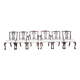 Vintage Baker Chippendale Style Ball & Claw Mahogany Dining Chairs - Set of 6