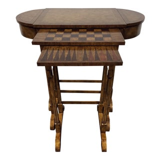 Maitland Smith Walnut Nesting Game Tables - S/3