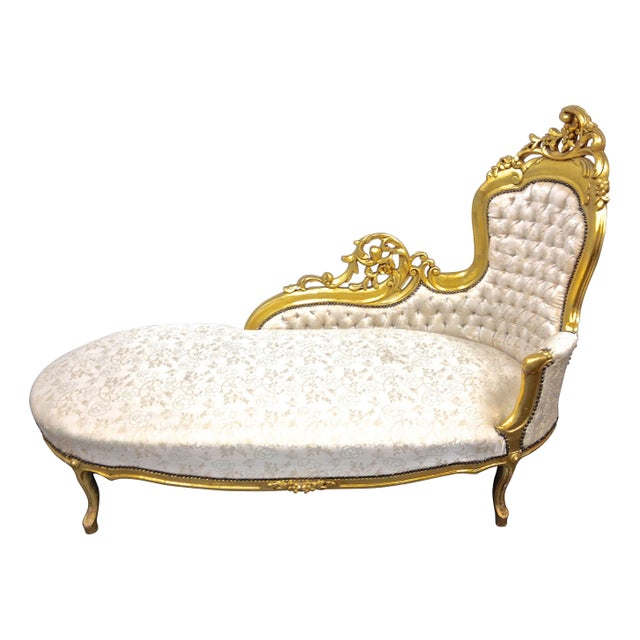 Vintage french louis xv lounge chaise chairish for Chaise louis xv