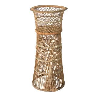 Vintage Wicker Rattan Pedestal Planter