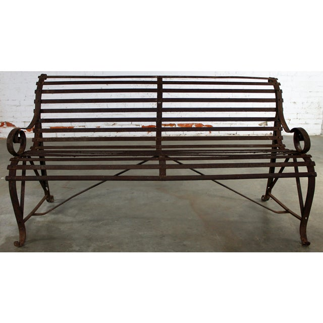 Antique 19th Century Forged Strap Iron Garden Bench - Image 2 of 10