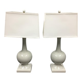 Pair of Currey & Company Downton White Table Lamps