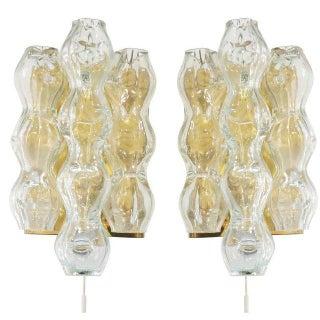 Vintage Doria Leuchten Mid-Century Modern Glass & Brass Wall Sconces - a Pair