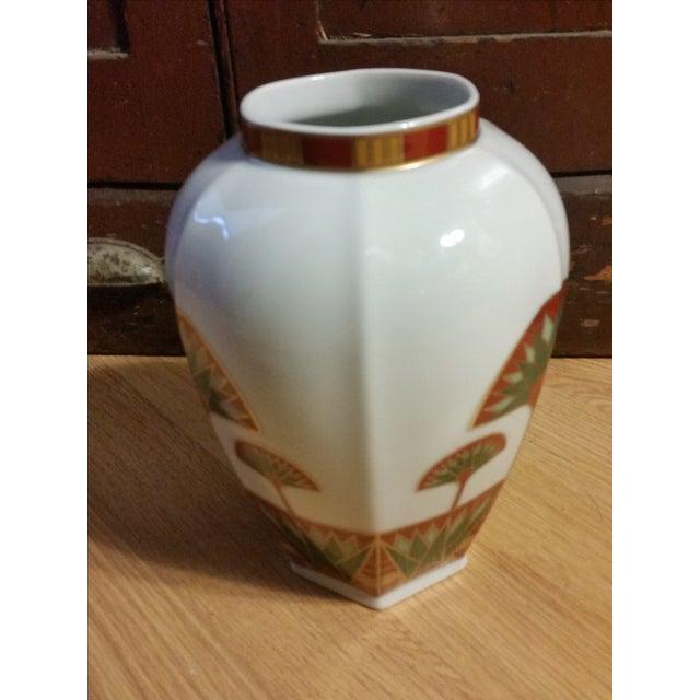 Signed Gail Levites Lotus Porcelain Vase Made in Japan - Image 6 of 6