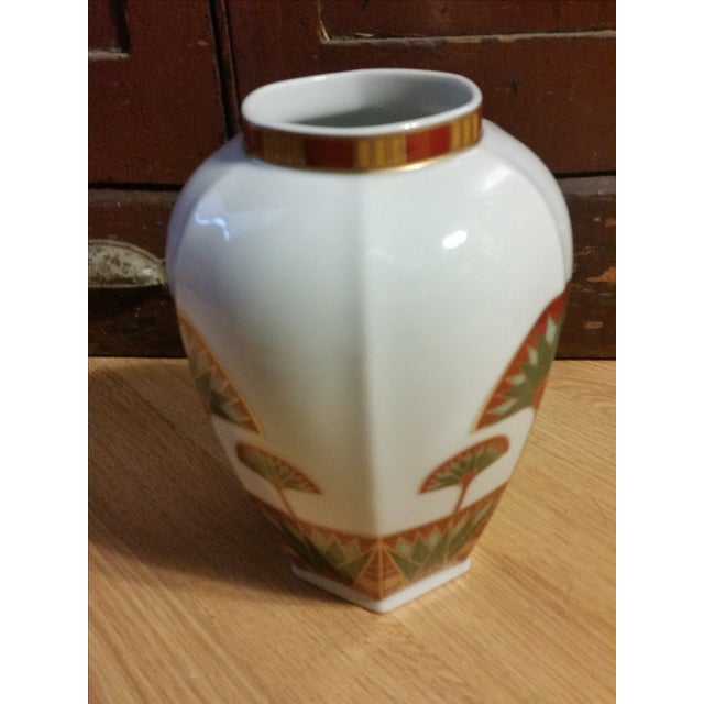Image of Signed Gail Levites Lotus Porcelain Vase Made in Japan