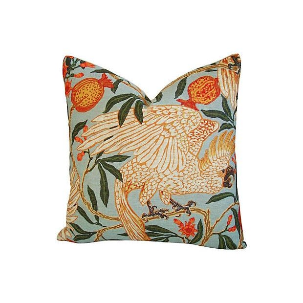 Tropical Parrot & Pomegranate Feather/Down Pillows - a Pair - Image 3 of 7