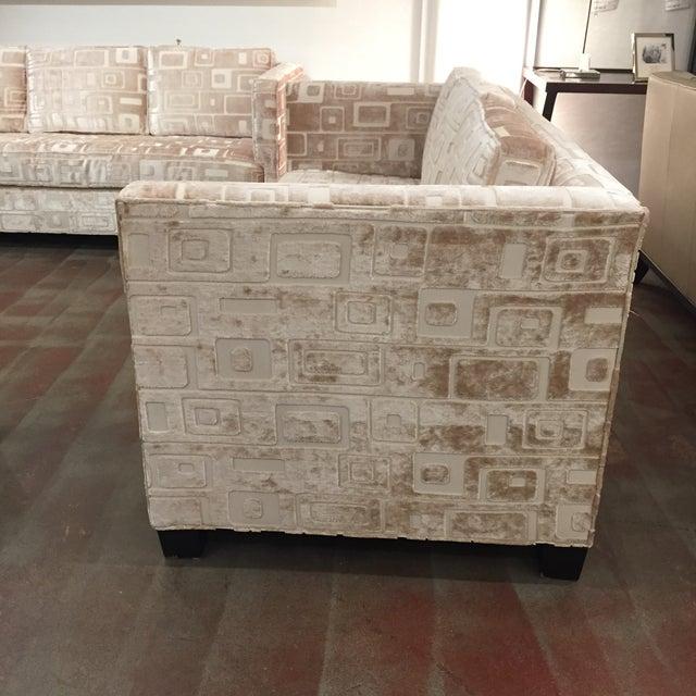 Custom Mid Century Sofa in Champagne Velvet - Image 7 of 11