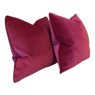 Solid Hot Pink Plush Velvet Pillows - A Pair