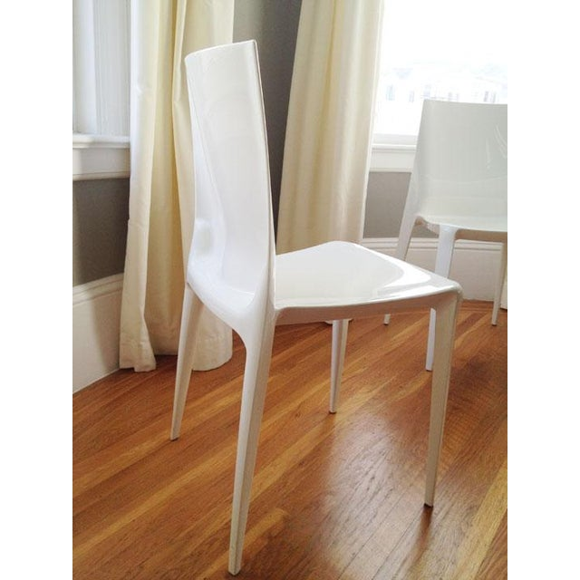 White High Gloss Bellini Chairs - Set of 4 - Image 4 of 5