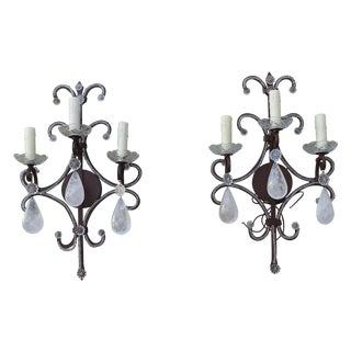 Wrought Iron Rock Crystal Sconces - Pair