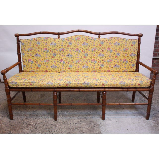 Mid-20th Century Faux-Bamboo Settee Bench in Cherrywood - Image 4 of 11