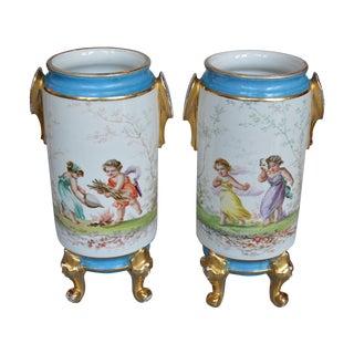 Old Paris Handpainted Vases - A Pair