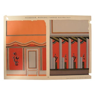 Deco Interior Pochoir in Orange, 1929