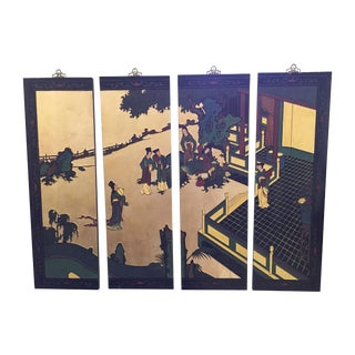 Asian Lacquered Decorative Panels - Set of 4