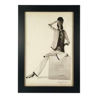 """Woman in White Pantsuit"" Black & White Watercolor"