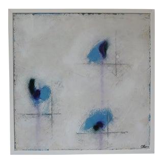 """Cachet, Blue V."" Mixed Media, Oil & Pastel Painting"