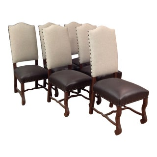 Emerson Fabric & Faux Leather Dining Chairs- Set of 6