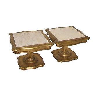 Hollywood Regency Marble Top End Tables - Pair