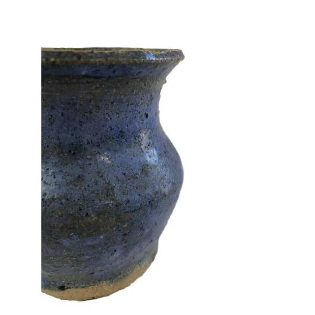 Image of Hand Thrown Blue Textured Vase