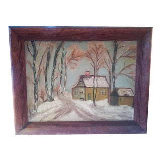 Vintage Sweet House Oil Painting, 1940's