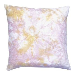 Marbled Blush Pink & Yellow Pillow Cover