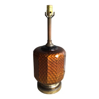 Mid Century Brass & Amber Glass Lamp