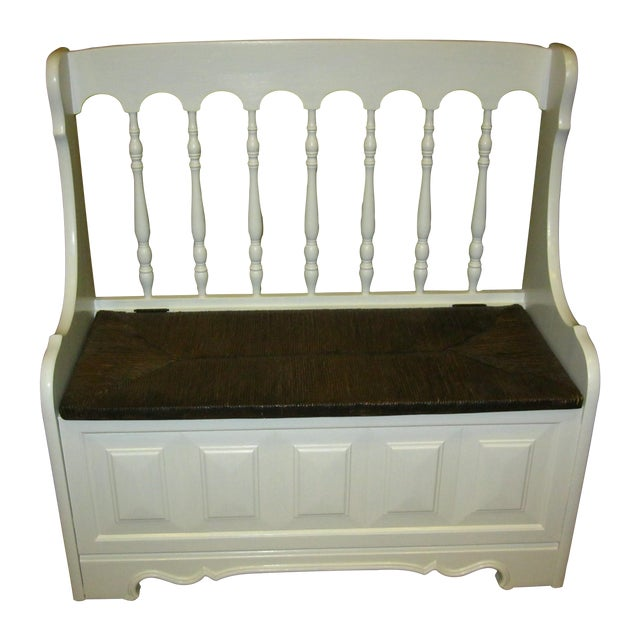 Tall-Back White Cottage Rush Seat Bench - Image 1 of 10