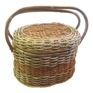 Vintage Rattan Woven Basket with Handle