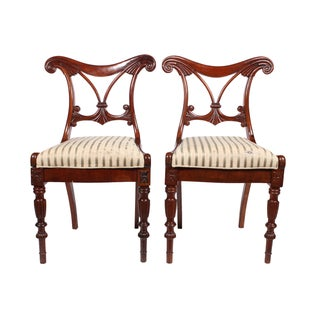 1840's Danish Mahogany Salon Chairs - A Pair