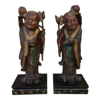 HeHe Erxian Twins Chinese Carved Wood Statues - A Pair