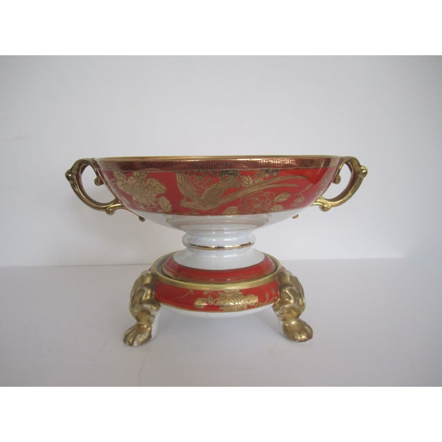 Vintage White, Orange and Gold Tazza with Paw Feet - Image 11 of 11