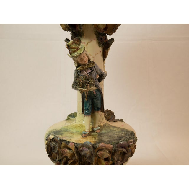 Image of Majolica French Pottery Lamp