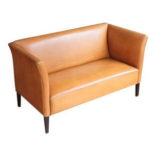 Danish Leather Settee in the Style of Kaare Klint